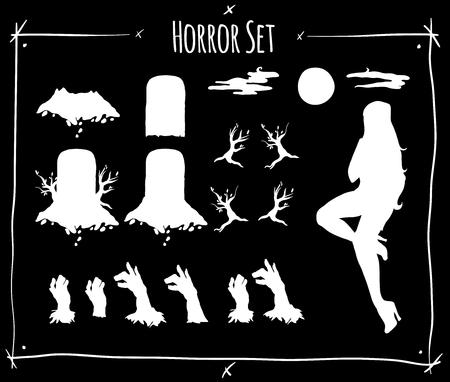 shadowgraph: Illustration set with horror shadowgraph on black background Illustration