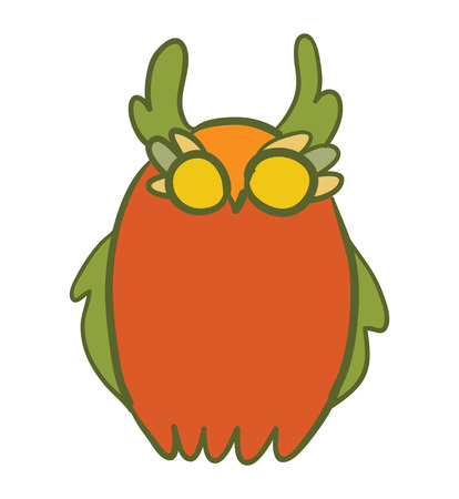 illustration with cartoon doodle cute owl Illustration