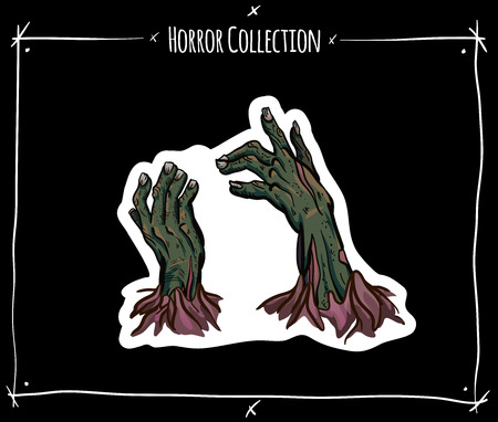 Vector sticker with zombie hand on black background