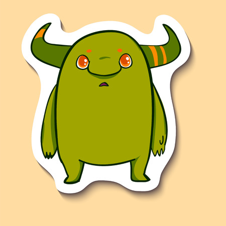 Vector emotion sticker with cute monster on yellow background. Normal cute monster with hornes. Sweety. Cute alien