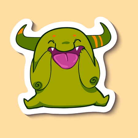 Vector emotion sticker with joking and laughing cute monster on yellow background. Cute creature with a big tongue. Laughing out of a loud. LOL.