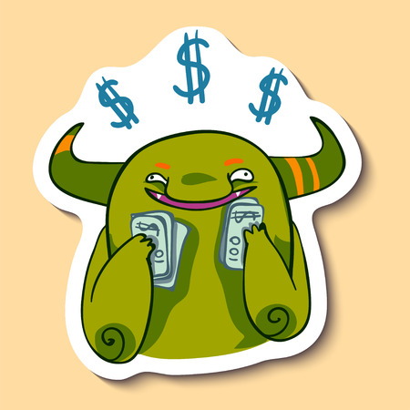 Vector emotion sticker with cute monster with money on yellow background. A lot of money. Monster loves money. My money!