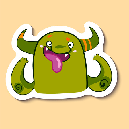 Vector emotion sticker with fooling monster on yellow background. Cutting up monster. April fools day. Fool.
