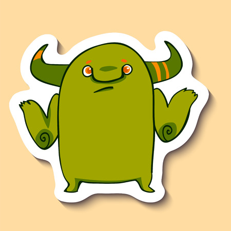 Vector emotion sticker with monster who doesnt know on yellow background. Unknown information emotion. Dont know.