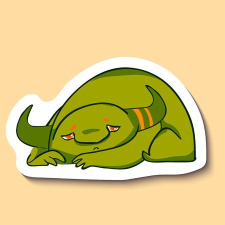 Vector sticker with cute sad monster on yellow background. Little green sad monster is laying. Bad mood. Tired. Sad and unhappy. Illustration