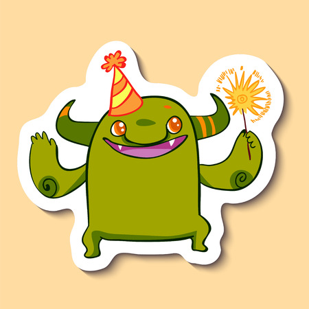 Vector emotion sticker with cute cheerful monster on yellow background. Monster and a sparkler. Little monster and a party hat. Lets have a party.