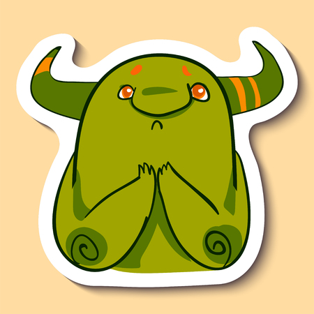 Vector emotion sticker with praying cute monster on yellow background. Sad praying monster.
