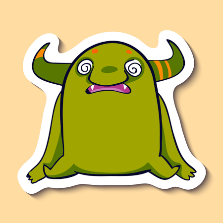 Vector emotion sticker with hypnotized monster on yellow background. Cute hypnotized creature. Not in my mind.