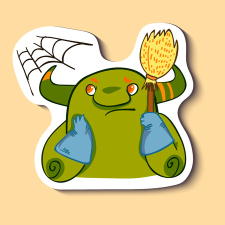 Vector emotion sticker with cleaning cute monster on yellow background. Its time to clean a flat, appartment, house room.