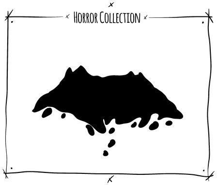 shadowgraph: vector illustration with black shadowgraph grave ground on white background Illustration
