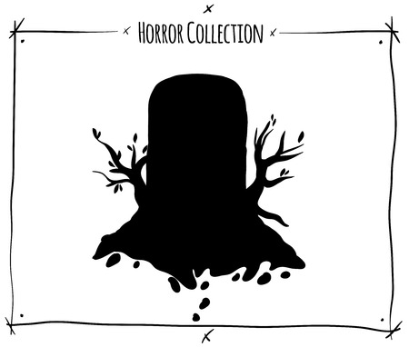 shadowgraph: vector illustration with black shadowgraph grave tomb on white background