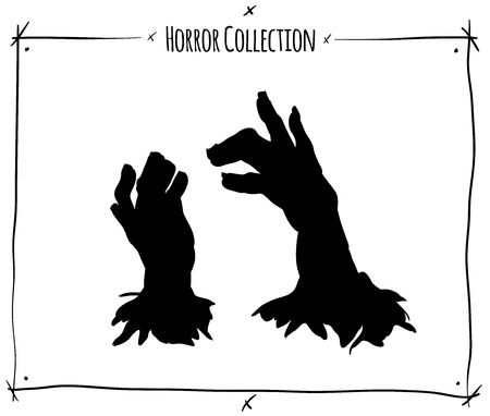 shadowgraph: vector illustration with black shadowgraph zombie hands on white background