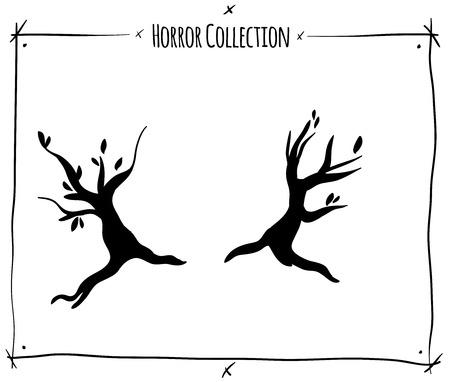 shadowgraph: vector illustration with black shadowgraph trees on white background Illustration