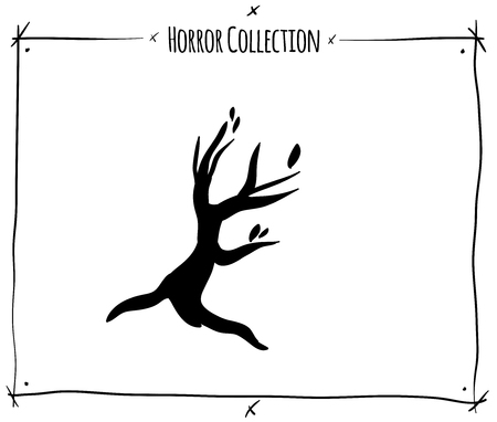shadowgraph: vector illustration with black shadowgraph tree on white background
