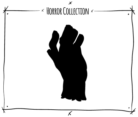 shadowgraph: vector illustration with black shadowgraph zombie hand on white background