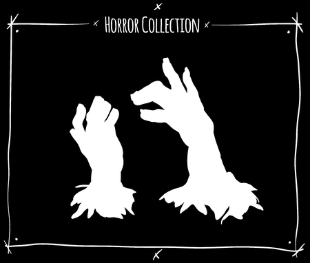 shadowgraph: vector illustration with white shadowgraph zombie hands on black background