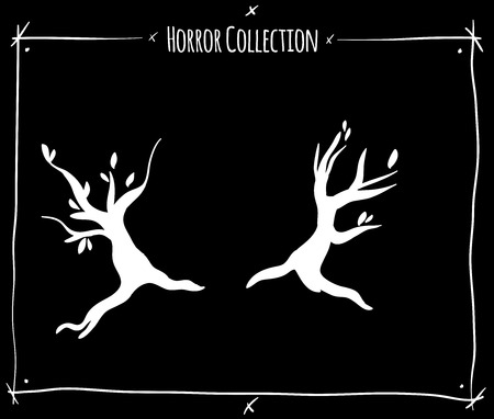 shadowgraph: vector illustration with white shadowgraph trees on black background Illustration