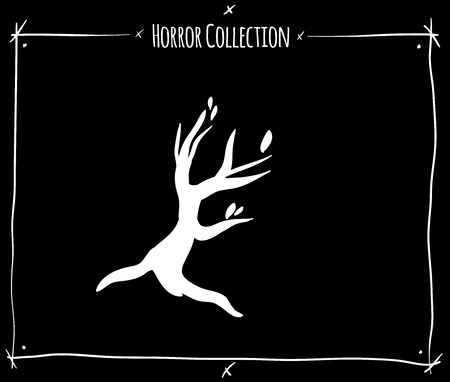 blood draw: vector illustration with white shadowgraph tree on black background