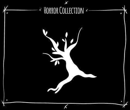 shadowgraph: vector illustration with white shadowgraph tree on black background