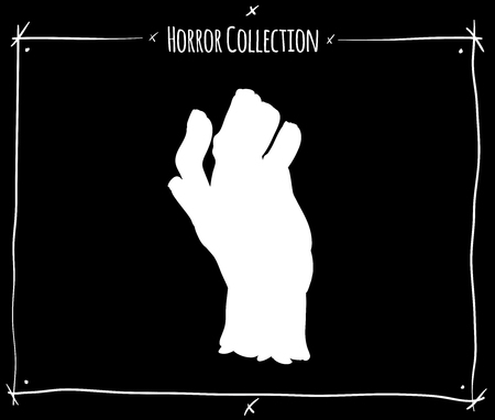 shadowgraph: vector illustration with white shadowgraph zombie hand on black background