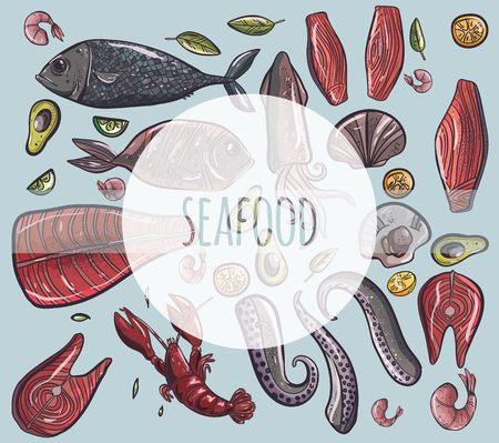 vector illustration set with seafood fish octopus