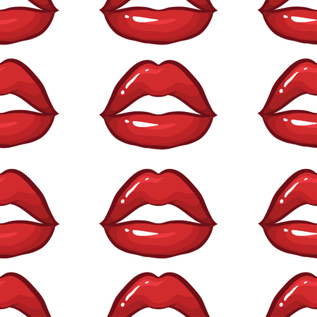 vector seamless pattern with sexy red lips on white background