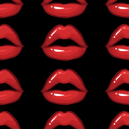 vector seamless pattern with sexy red lips on black background Illustration