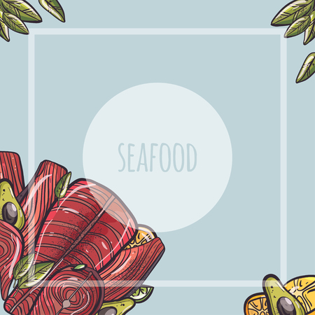 vector illustration set with seafood fish and fruits Illustration