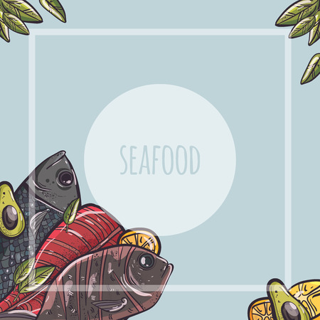 vector illustration set with seafood fish octopus fruits Illustration