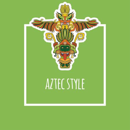 vector illustration frame with green orange line art totem on green background aztec Illustration