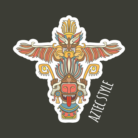 tiki head: vector illustration sticker with yellow pink line art totem on grey background aztec Illustration
