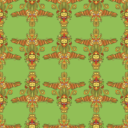 vector seamless pattern with orange totems aztec on green background Illustration