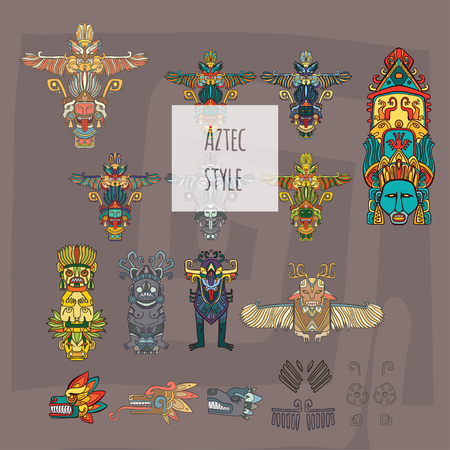 vector illustration set with aztec style totems