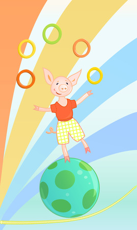 Funny circus pig Vector