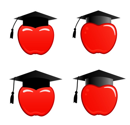 isolated background objects: Apple in graduation cap