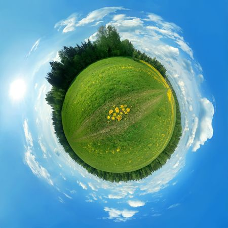 protection of land: Green panorama globe  Stock Photo