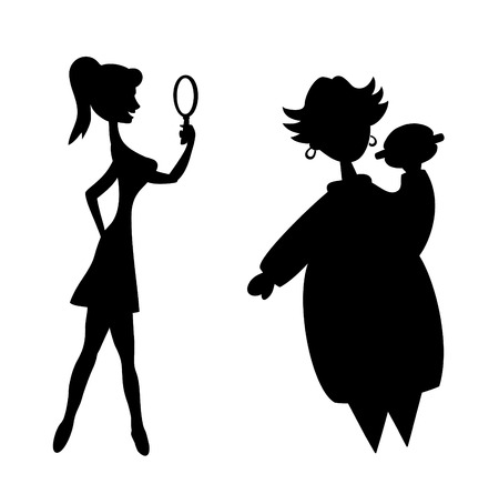 woman eat: Siluetas de la regordeta mujer y delgado Vectores