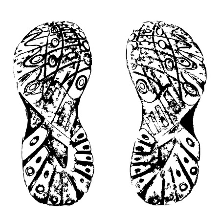 walking shoes: Training shoes prints. Contains traced image