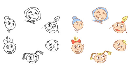 Cartoon faces Illustration