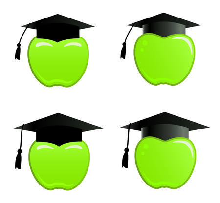 Apple in graduation cap