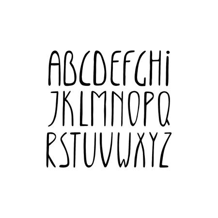 Alphabet, thin high long letters, vector