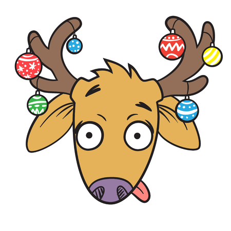 Funny cartoon deer, Christmas decorations, isolated, vector illustration
