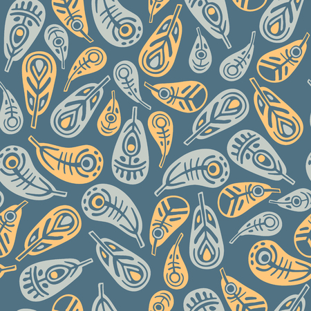 Ethnic feathers on blue background seamless pattern, baby room decor