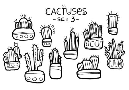 Hand drawn amazing cactuses in cute pots isolated on the white background. Hand painted sketch of amazing fantasy cartoon succulents with black outline set. Floral stickers set, ethnic style. Line ink 写真素材