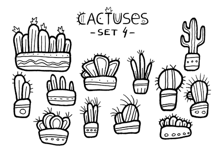 Hand drawn cactuses in patterned pots isolated on the white background, ink. Hand painted sketch of amazing fantasy cartoon succulents with black outline set. Floral stickers set, ethnic style. Childr