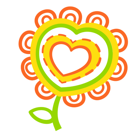 Heart flower color flat icon, isolated vectot illustration. Symbol of life and health. Logo for charitable organizations. Green, red, yellow color 向量圖像