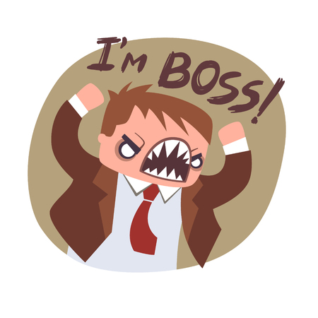 Angry boss flat icon vector. Funny office poster motivator. Retro vintage colors Square illustration 向量圖像