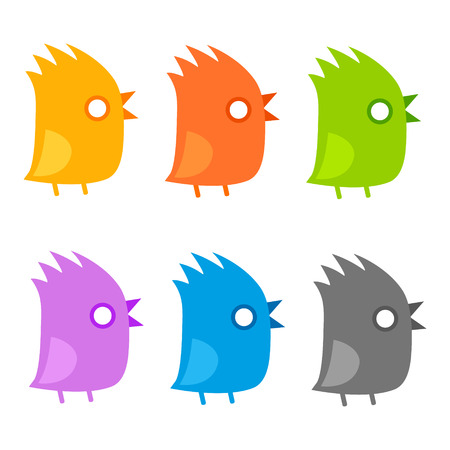 Tufted birds flat icon set. Funny chick with mouth open isolated, cute vector illustration.