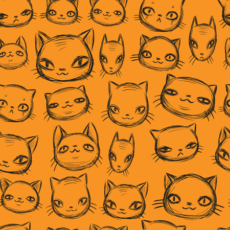 Charismatic cat set, hand drawn sketch, funny cartoon animals face seamless pattern. Black and yellow color