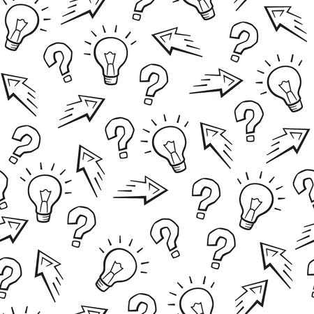 Set di segni di esperimento, idea, segno di conoscenza, modello senza cuciture sciense, vettore, bianco e nero. Schizzo di linea Vettoriali